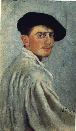 Léon Bakst, Self-portrait, 1893, oil on cardboard, 34 x 21 cm.